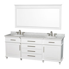 "Berkeley 80"" Double Vanity, White, White Carrera Marble, 70"" Mirror"