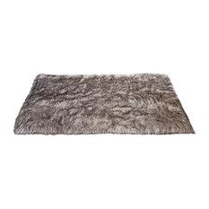 Luxe Faux Fur Accent Rug, Pearl Finn Raccoon
