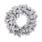 Flocked Snow Ridge Wreath, Unlit, 30""