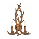 Rustic antler wall light Stag - two-bulb
