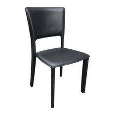 Metro Leather Side Chair, Leather: Black