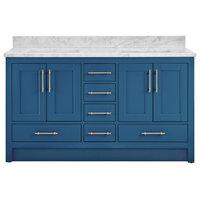 "Kendall Deep Blue Bathroom Vanity Toe Kick Base, 60"", With Carrara Marble Top"