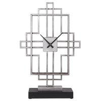 Vanini Contemporary Antique Silver Tabletop Clock