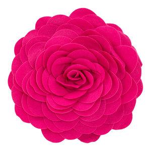 """Eva's Flower Garden Decorative Throw Pillow, 13"""" Round, Fuchsia"""