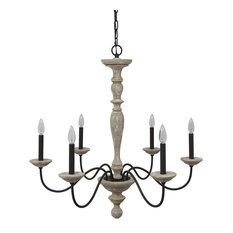 Distressed wood chandeliers houzz elle b jane french country rustic 6 light distressed wood chandelier no crystal aloadofball Images