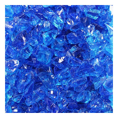 """Crushed Fire Glass, Tropical Blue 1/2"""" to 3/4"""", 10 lb. Jar"""