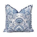 """Linen Pillow Cover With Pompom Trim, 20""""x20"""""""