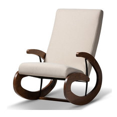 Baxton Studio Kaira Fabric and Wood Rocking Chair in Beige and Walnut Brown
