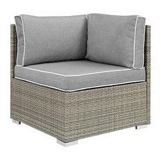 Repose Outdoor Wicker Rattan Corner, Light Gray/Gray