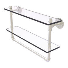 """Pipeline Collection 22"""" Double Glass Shelf With Towel Bar, Satin Nickel"""