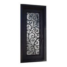 "Tuscany Iron Door, 42""x96"", Square Top, Sandblast Glass, Right Hand Inswing"