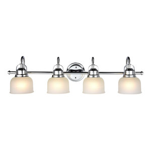 Ironclad 4-Light Chrome Vanity Fixture White Frosted Prismatic Glass