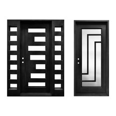 High-End Front Entry Wrought Iron Door With Same Style Single Door