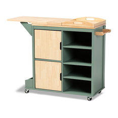 Baxton Studio Dorthy Two-tone Dark Green and Natural Wood Kitchen Cart