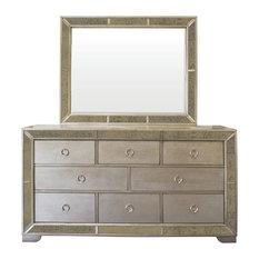 Ava Mirrored Silver Bronzed Dresser And Mirror 2-Piece Set