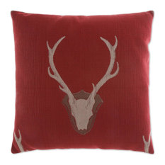 Uncle Buck Red Feather Down Decorative Throw Pillow, 24x24