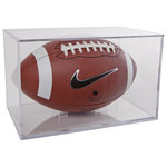 BallQube Inc. - Football Display Case - This Acrylic Football Display Case is an attractive solution to storing and displaying your favorite sports memorabilia.  This sports display case has a removable stand for convenient location of the ball and a handy information panel for recording information about the player, game, or other details.  Also works great for figurines and other collectibles. This football display case is made of crystal styrene for durability, clarity, and easy cleaning. This makes an economical way to preserve your sports memories.
