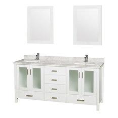"Lucy 72"" Double Vanity, White, Countertop, White Undermount Sinks, 24"" Mirrors"