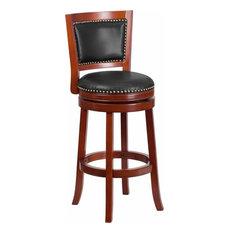 "30"" High Dark Cherry Wood Barstool With Walnut Leather Swivel Seat"