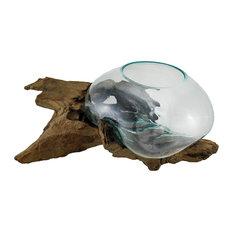 Glass On Teak Driftwood Hand Sculpted Molten Bowl/Plant Terrarium