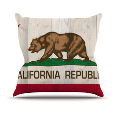 """Bruce Stanfield """"California Flag Wood"""" Brown Outdoor Throw Pillow"""