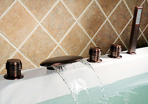 clam oil rubbed bronze roman tub waterfall faucet bathtub faucets