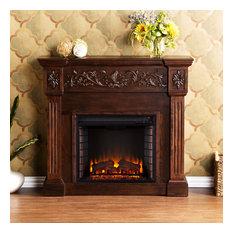 Calvert Carved Electric Fireplace, Espresso