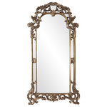 """Howard Elliott - Imperial Mirror 44""""x85"""", Elegant Mottled Bronze - The Imperial Mirror features an ornate scrolled frame that is finished in a lovely mottled bronze with antique silver highlights that give the piece a rich tone. Decorative flourishes adorn the top and bottom of the frame. Its 85"""" height will beautifully accent your wall. From Contemporary, to Art Deco; from Transitional to a Traditional look, plus everything in between this piece will fit right into your decor. The Imperial Mirror can only be hung vertically and the glass is NOT beveled. Personalize this mirror with one of the additional 10 color choices."""