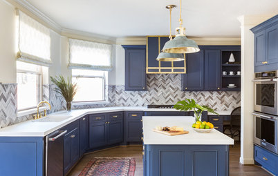 Bold Blues Perk Up a Kitchen and Living Area