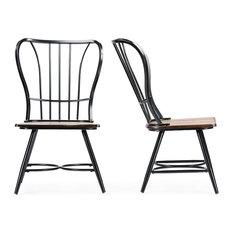 """Longford """"Dark-Walnut"""" Wood and Black Metal Vintage Dining Chair, Set of 2"""