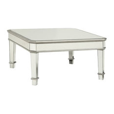 Bowery Hill   Bowery Hill Square Mirrored Coffee Table, Silver   Coffee  Tables