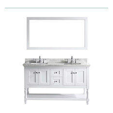 "Julianna 60"" Double Bathroom Vanity Set, White, Marble Top, Square Basin"