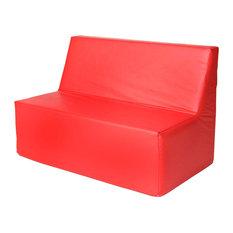 Foamnasium   Foamnasium 1016 Small Straight Back Sofa, Red   Kids Sofas