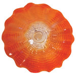 """Dale Tiffany - Titian Hand Blown Art Glass Wall Decor, 20""""D - Our Titan Series transforms luxurious hand blown Favrile Art Glass to into stylish wall decor plates. The delightfully scalloped edges of the Titan 20"""" hand-made design will be the conversation piece in any room. This lovely plate has a swirls of red, orange, and amber colors that begin at the center and swirls outward to the plate's rim. Each plate includes a hanging bracket for wall use. You can also use it as a plate for a decorative centerpiece on a dining or occasional table."""