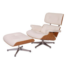 2-Piece Mid-Century Plywood Lounge Chair and Ottoman Set, White/White