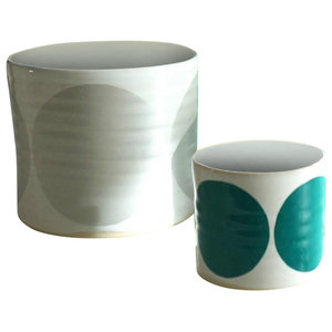 Spots Decorative Jars, Set of 3, Silver, Turquoise and Green