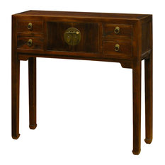 China Furniture and Arts - Elmwood Console Table, Walnut - Console Tables