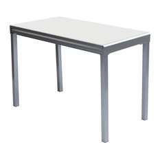 Modern Desk And Dining Table White Powder Coating Base Frosted Glass