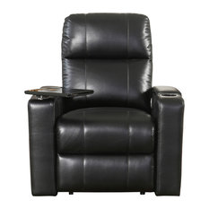 Abbyson Living Murphy Power Leather Recliners With Tables, Black, Single