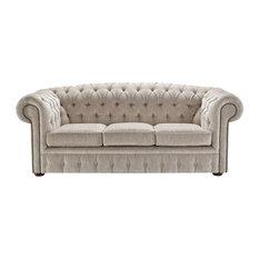 Aragon Chenille Chesterfield Sofa, Cream