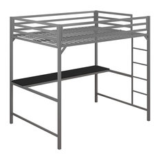 Modern Industrial Loft Bed, Metal Construction With Integrated Rectangular Desk