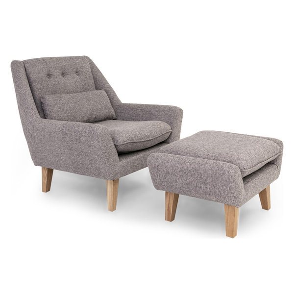 Stuart modern lounge chair and ottoman 2 piece set deco gray twill - Deco lounge eetkamer modern ...