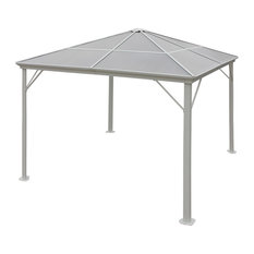 GDF Studio Halley Outdoor 10'x10' Black Aluminum Gazebo (No Curtains), White