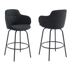 Counter Stool, Set of 2, Charcoal