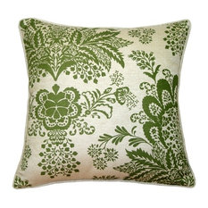"""Rustic Floral Throw Pillow, Green, 20""""x20"""""""