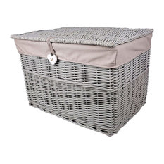 Traditional Storage Basket, Grey Painted Wicker, Lid and Removable Lining Medium