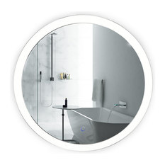 Krugg Round 27 Led Lighted Bathroom Mirror With Defogger Wall Mounted Sol