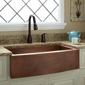 "33"" Kiana Curved Apron Copper Farmhouse Sink"