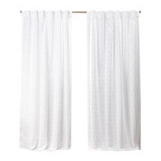 Nicole Miller Tangled Hidden Tab Top Curtain Panel Pair, White, 54x96