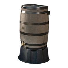 50 Gallon Plastic Water Barrel - Woodgrain
